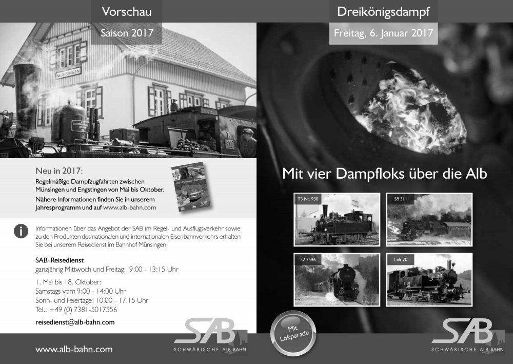 Neu: am 6. Januar 2017: Dreikönigsdampf