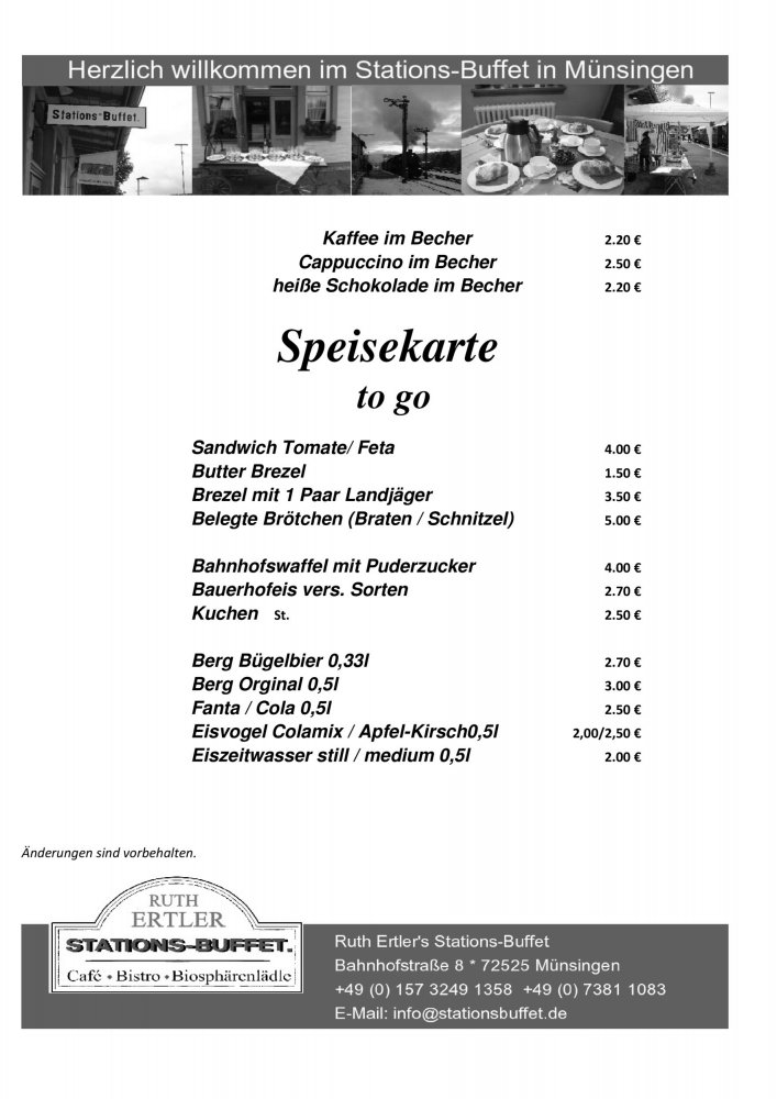Stations-Buffet Speisekarte to go