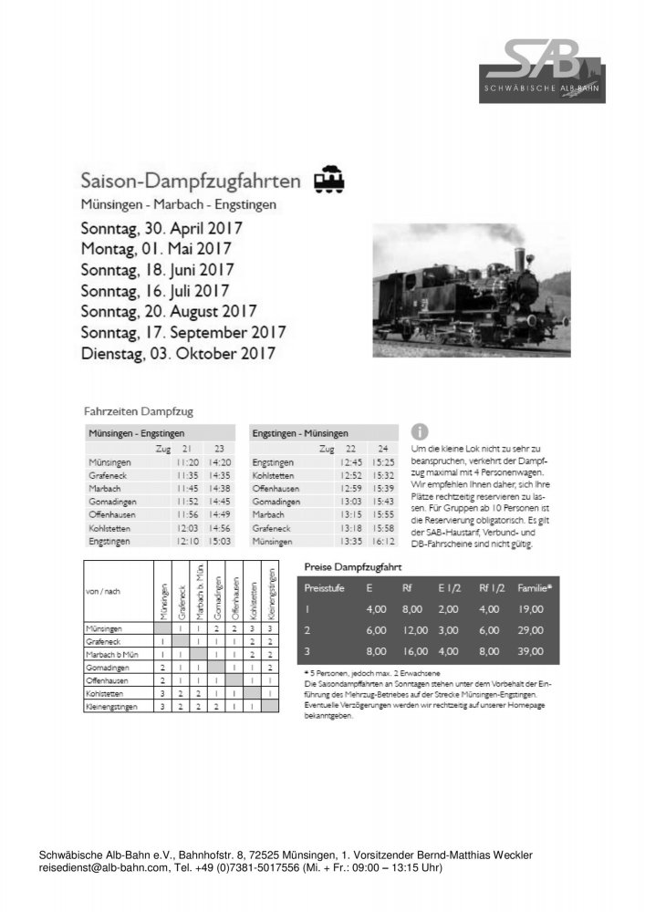 Saison Dampfzugfahrten 2017