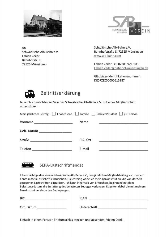 Beitrittformular Schwäbische Alb-Bahn e.V.