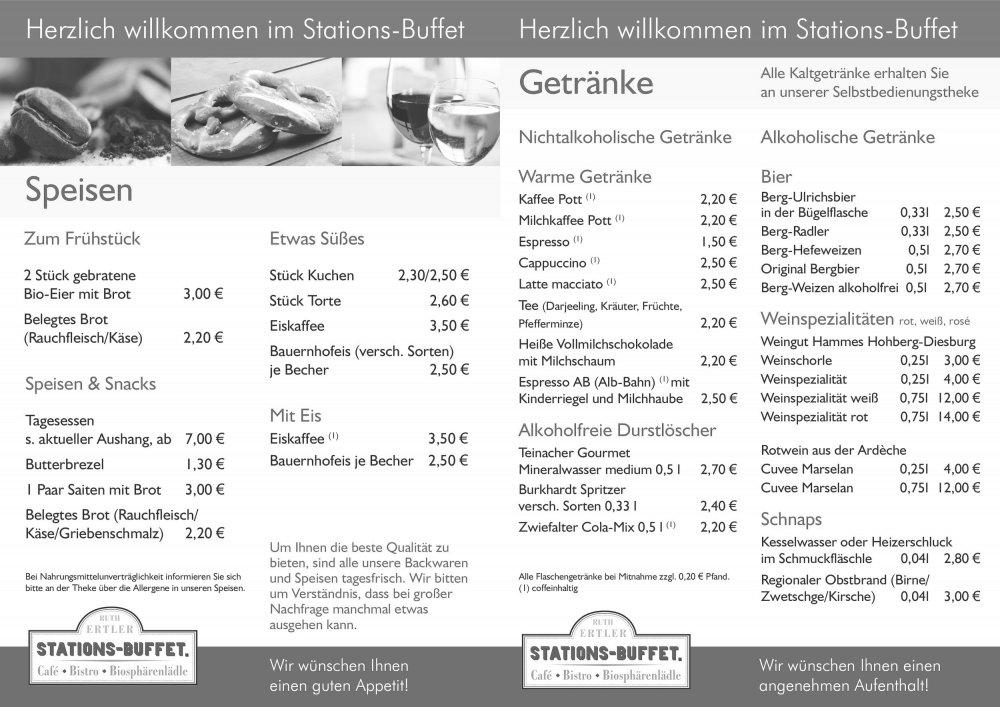 Stations-Buffet Münsingen Speisekarte
