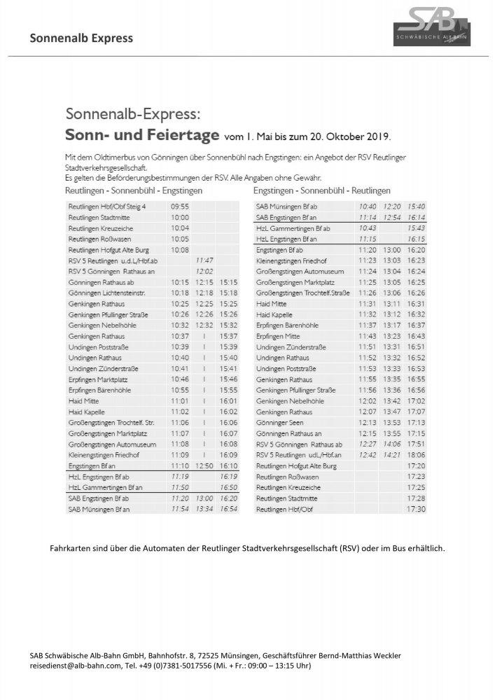 Fahrplan Sonnenalb-Express 2019