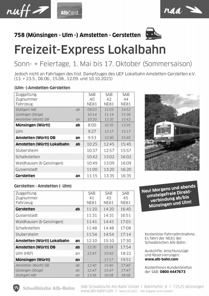Fahrplan Lokalbahn 2021
