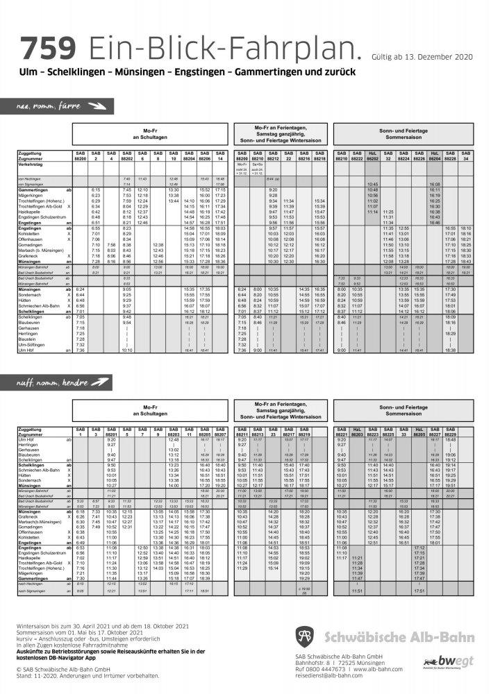 SAB Ein-Blick-Fahrplan 2021