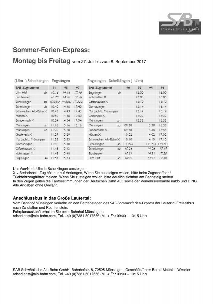 SAB Fahrplan Sommer Ferien Express 2017