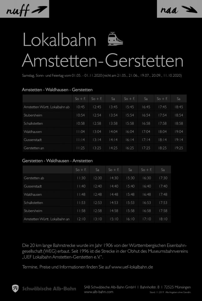 Fahrplan Lokalbahn Gerstetten - Amstetten