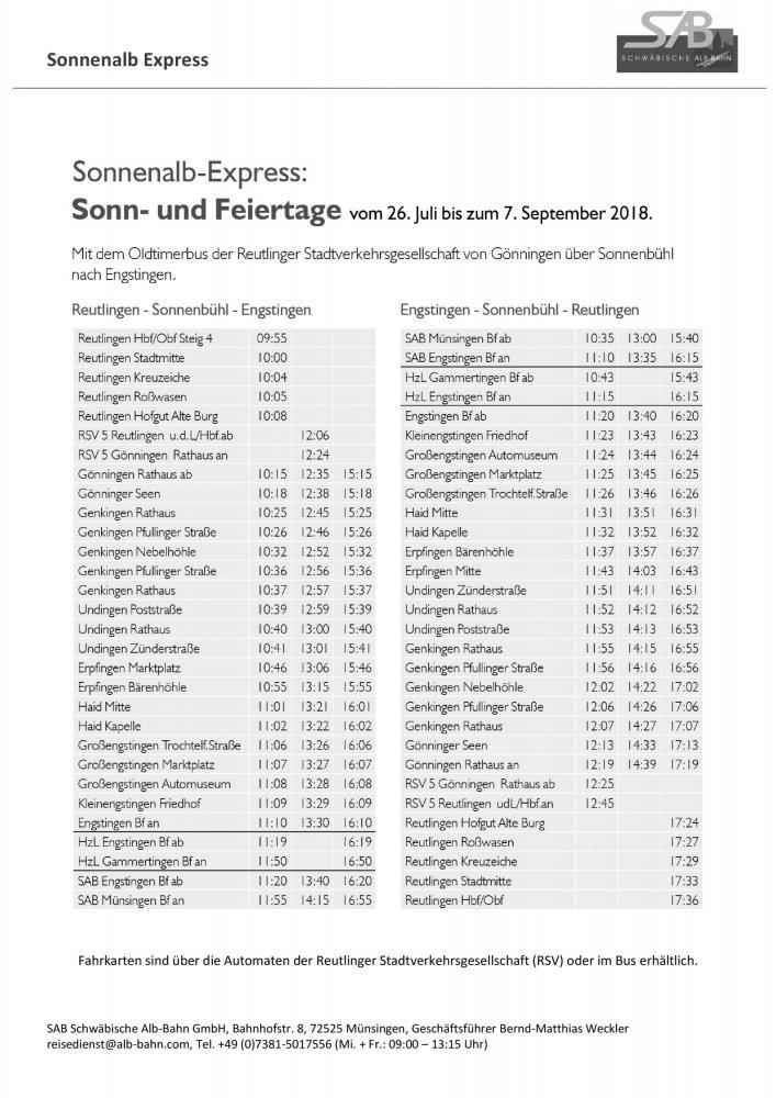 Fahrplan Sonnenalb-Express 2018