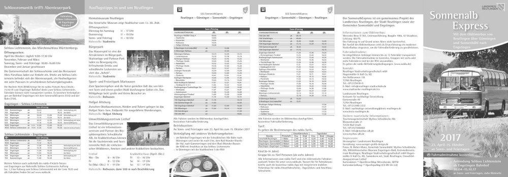 Information und Fahrplan Sonnenalb Express 2017