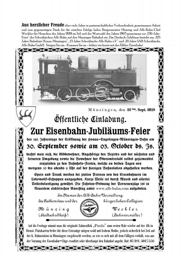 SAB - Einladung zum Bahnhofsfest
