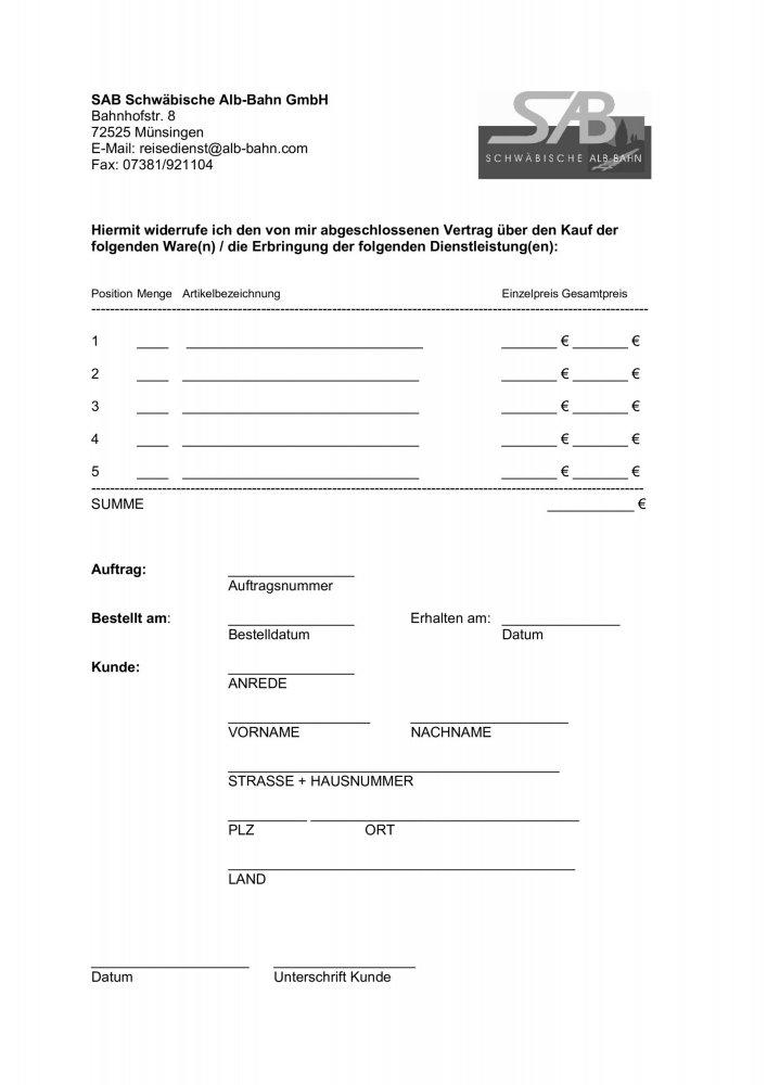 SAB Widerrufsformular zum download