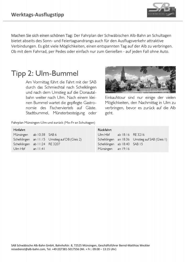 SAB Ausflugstipp: Stadtbummel durch Ulm